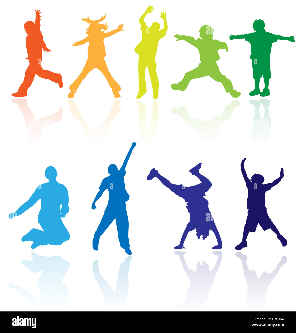 Vector colored silhouettes with reflections of children activity. Easy to edit, any size. - Stock Image