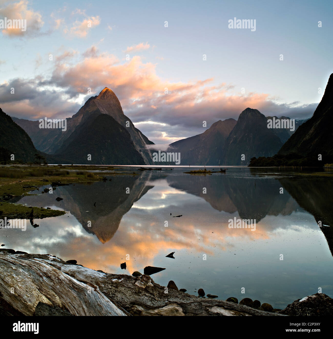 Mitre Peak,Milford Sound, New Zealand at dawn - Stock Image