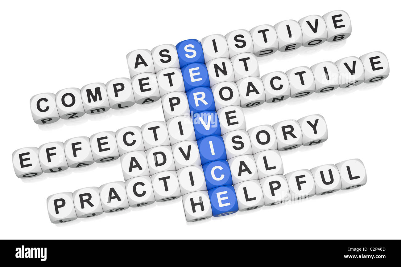 Quality service features crossword on white background - Stock Image