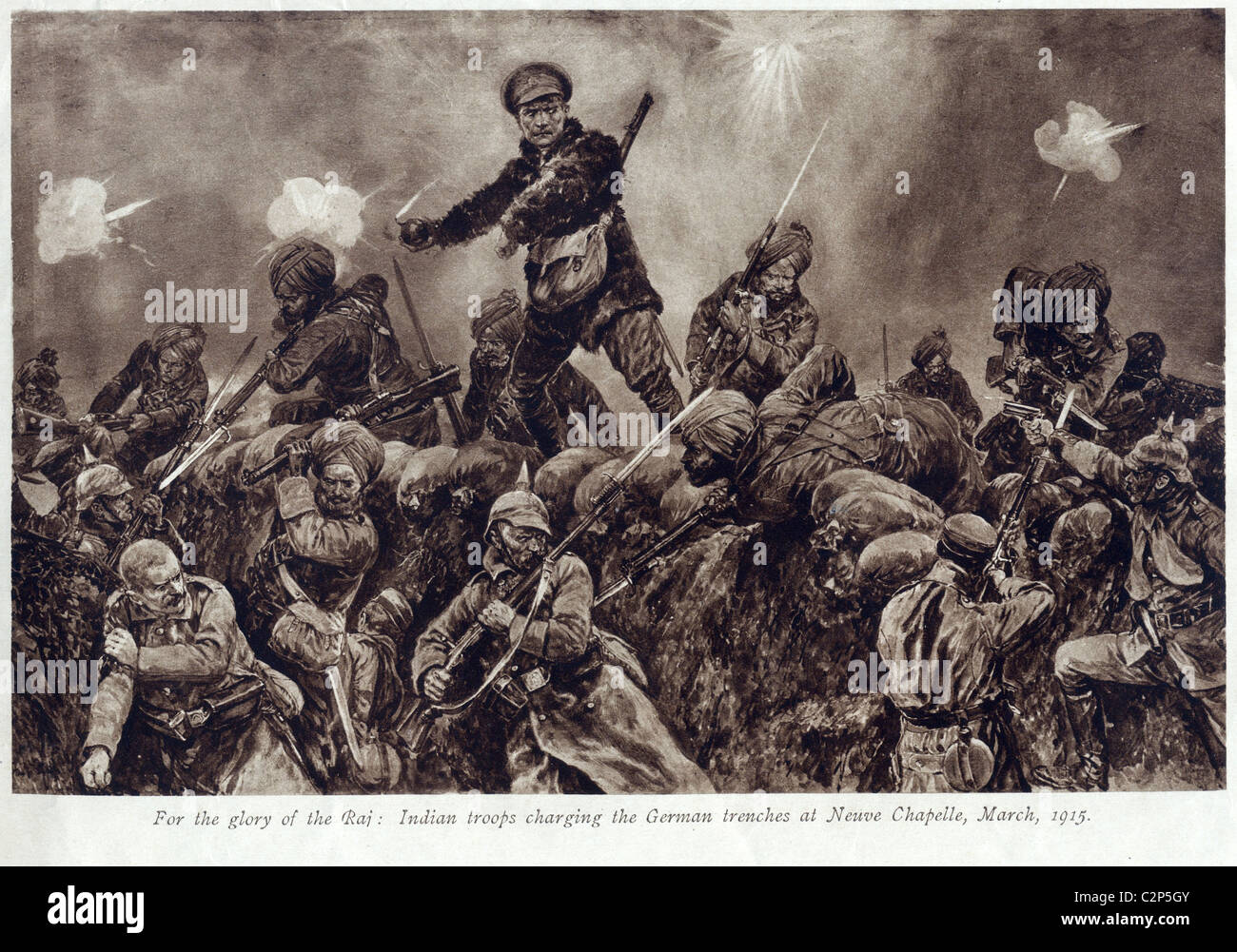 Illustration of an attack by indian troops on German trenches WW1 - Stock Image