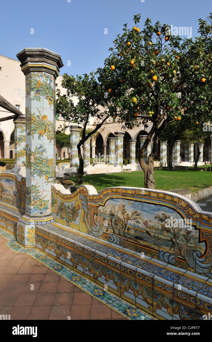 Naples. Italy. Cloister of the church & convent of Santa Chiara. - Stock Image