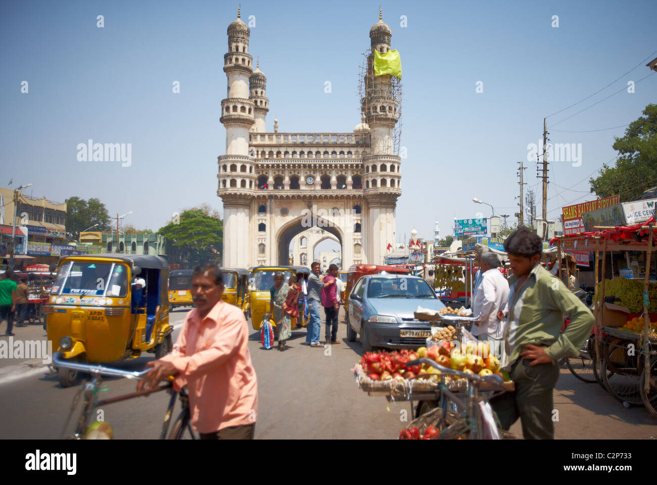 India, Hyderabad, development, growth, business, colour, color, vibrant, street, new, old, Holi, finance, money, Stock Photo