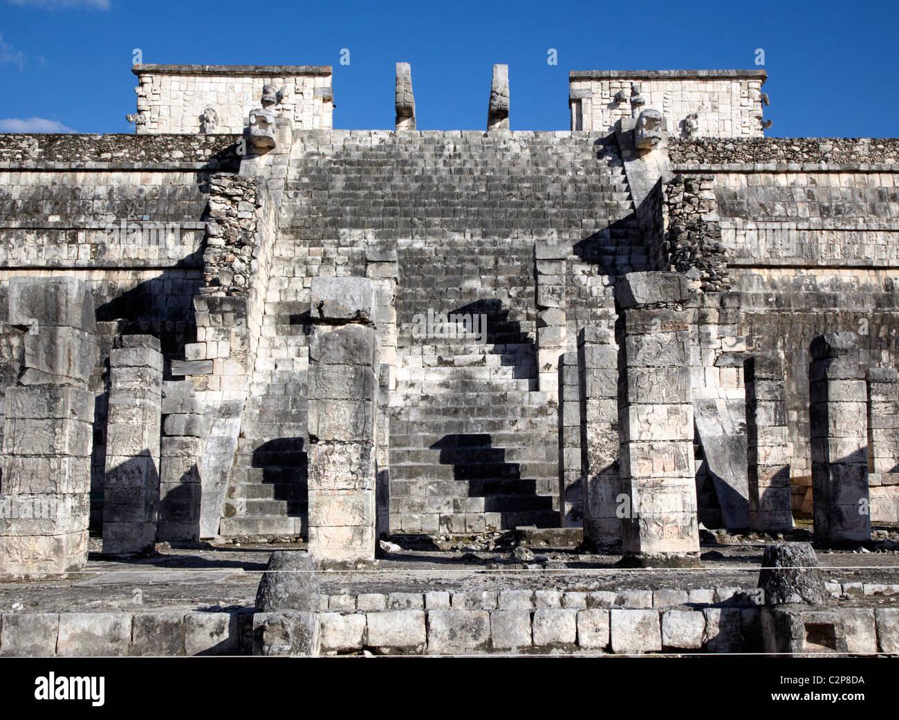 Temple At Chichen Itza Mayan Ruins Mexico - Stock Image
