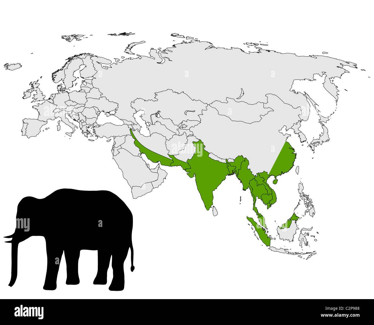 Asian elephant range - Stock Image