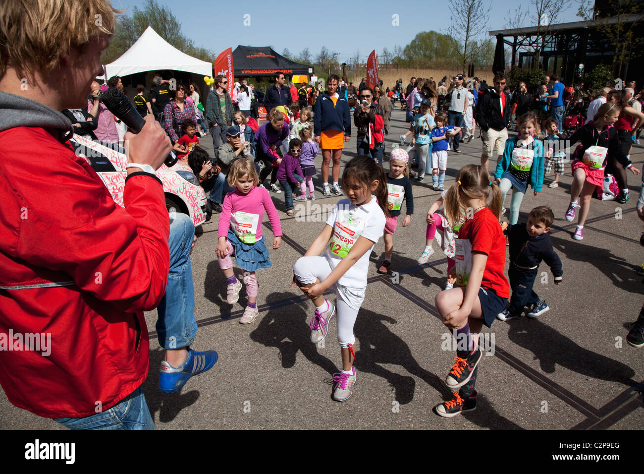 Warming up for children in the Westerpark, Amsterdam, The Netherlands Stock Photo