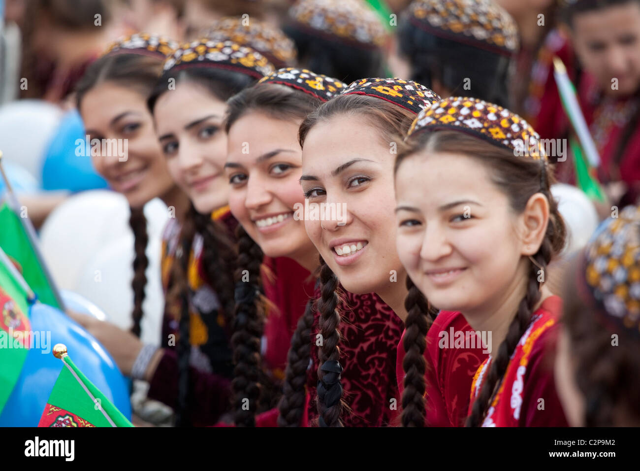 Girls in traditional the national dress of Turkmenistan - Stock Image