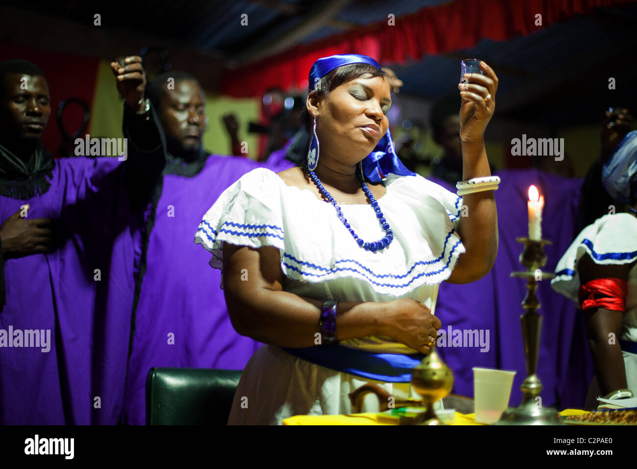 Voodoo ceremony in port Au Prince on the first anniversary of 2010 Haiti earthquake. - Stock Image