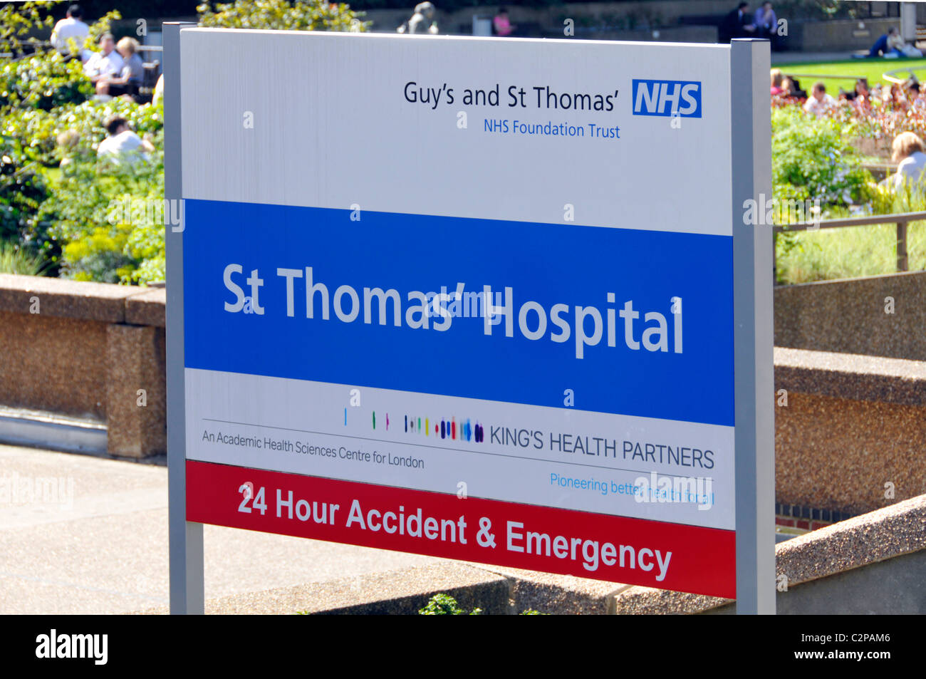 NHS sign St Thomas' Hospital with 24 hours Accident & Emergency department part of Guys and St Thomas Foundation - Stock Image