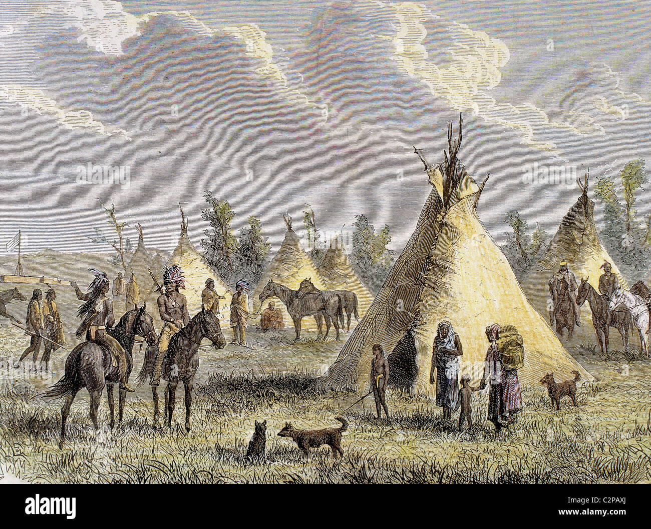 Sioux Camp near Fort Laramie. Colored engraving, 1884. - Stock Image