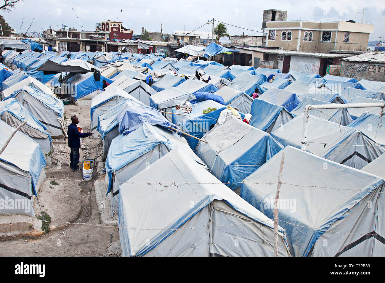 Tent camp in Port Au Prince one year after the 2010 earthquake , Haiti - Stock Image