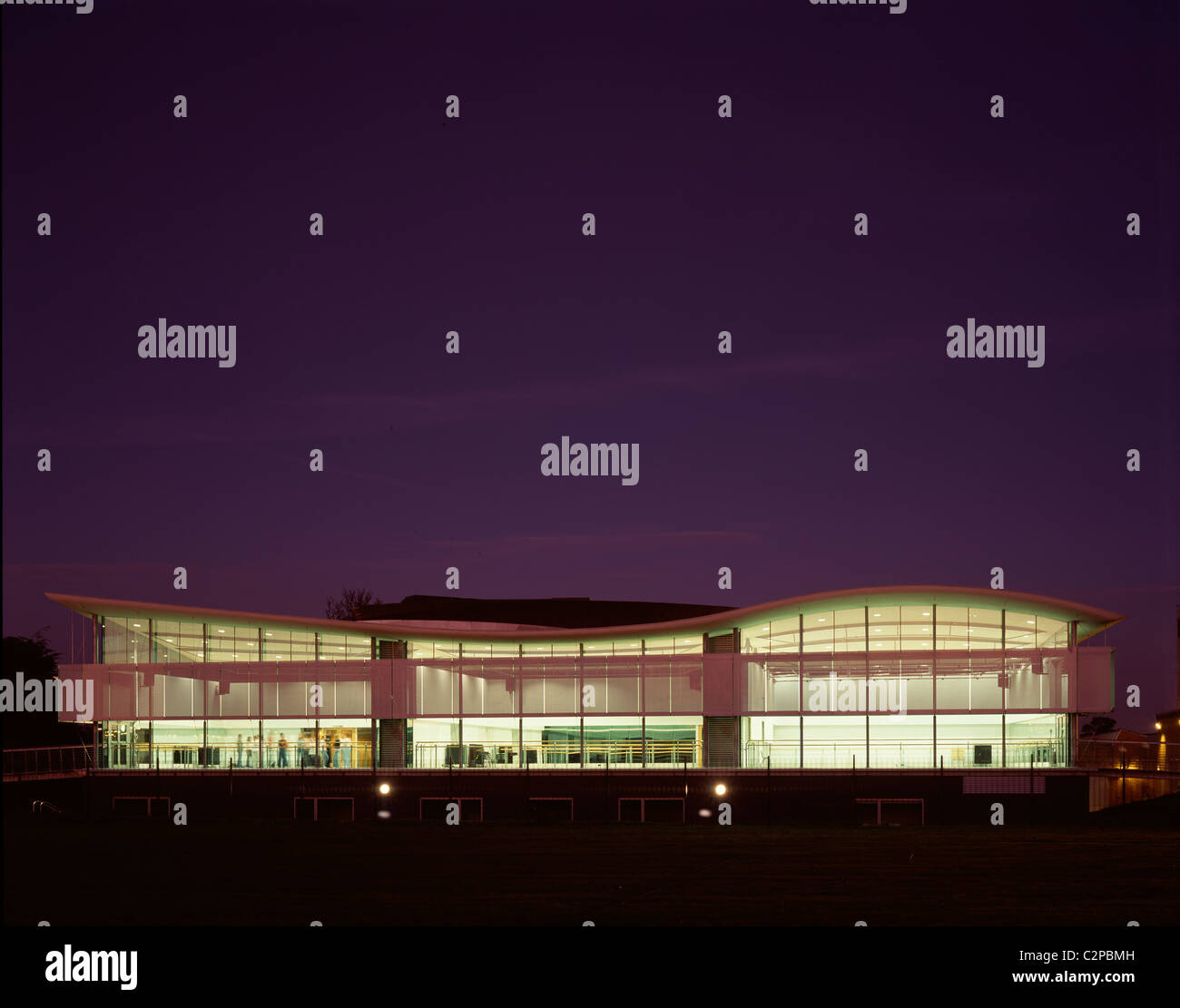 The Space Centre for Dance, Dundee College, Scotland. West elevation exterior night time. - Stock Image