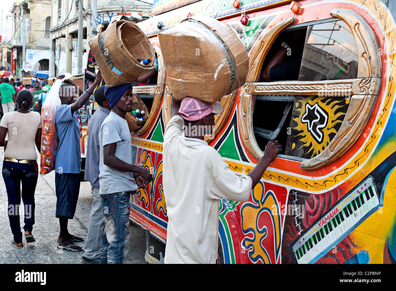 Port Au prince painted buses Tap Tap, Haiti - Stock Image