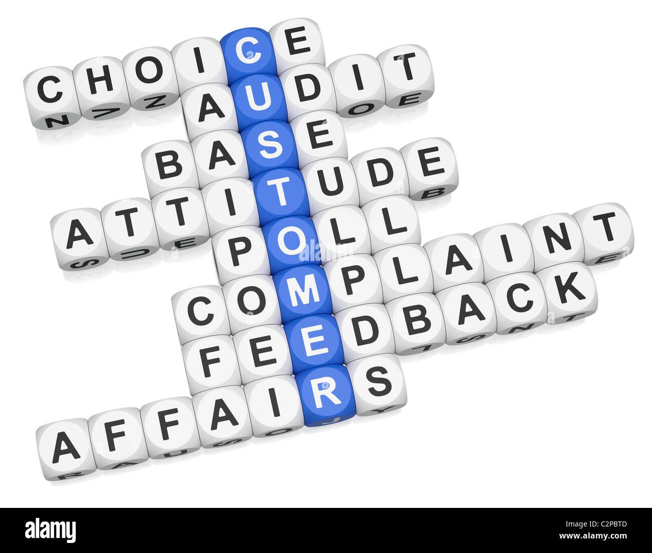 Customer affairs crossword on white background - Stock Image
