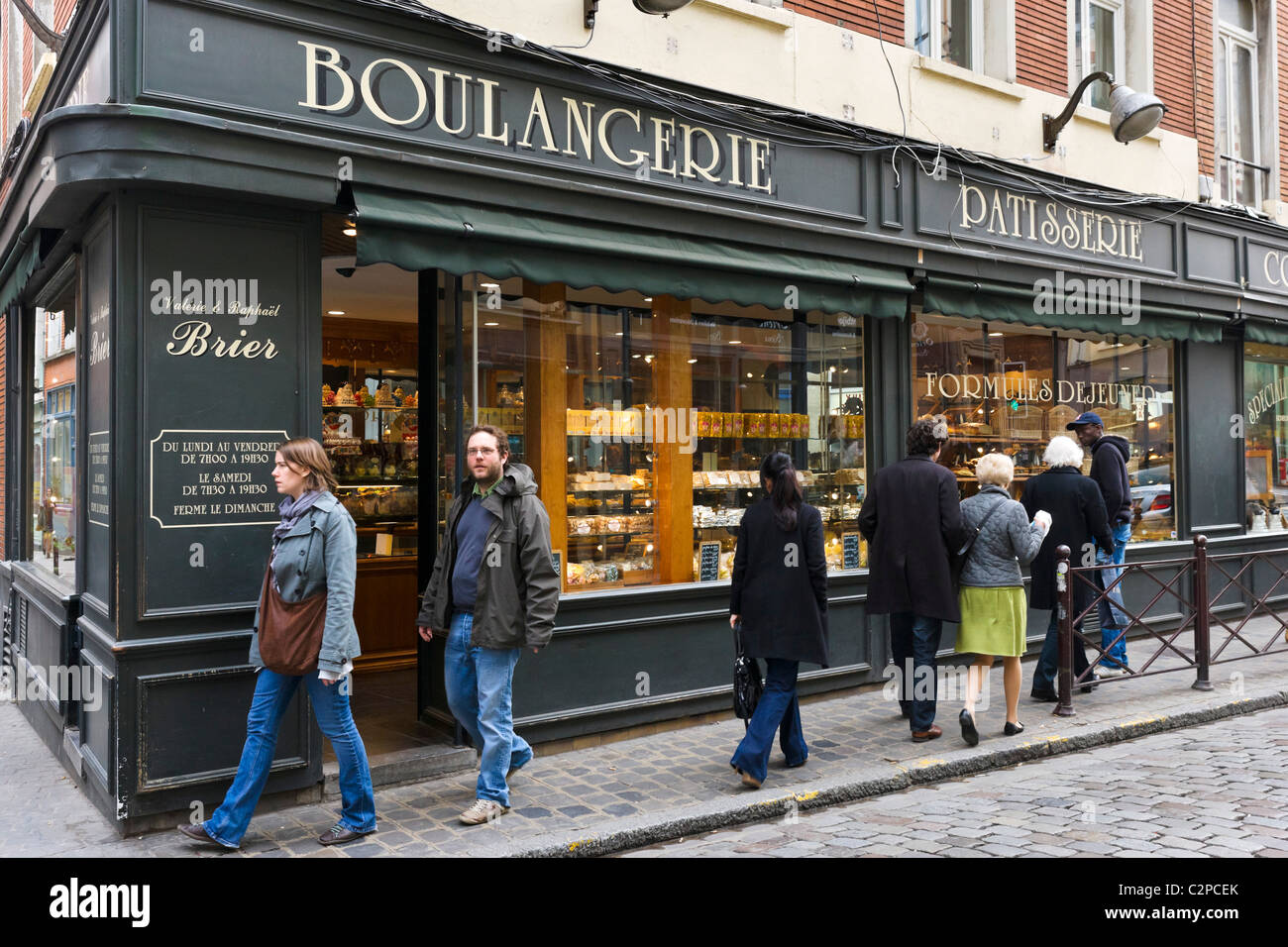 Traditional Boulangerie / Patisserie on a typical street in the historic old quarter (Vieux Lille), Lille, Flanders, - Stock Image