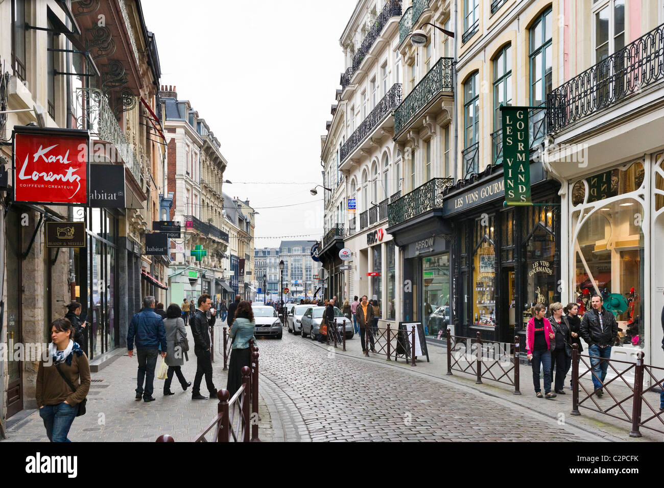 Shops on a street in the city centre, Lille, Flanders, France - Stock Image