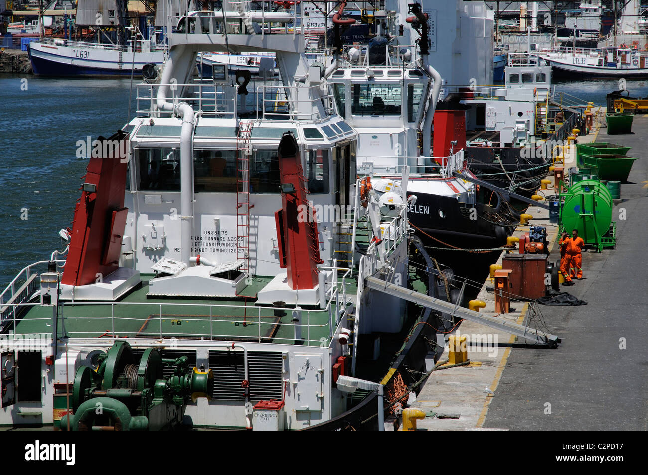 Ocean going tugs alongside Port of Cape Town South Africa - Stock Image