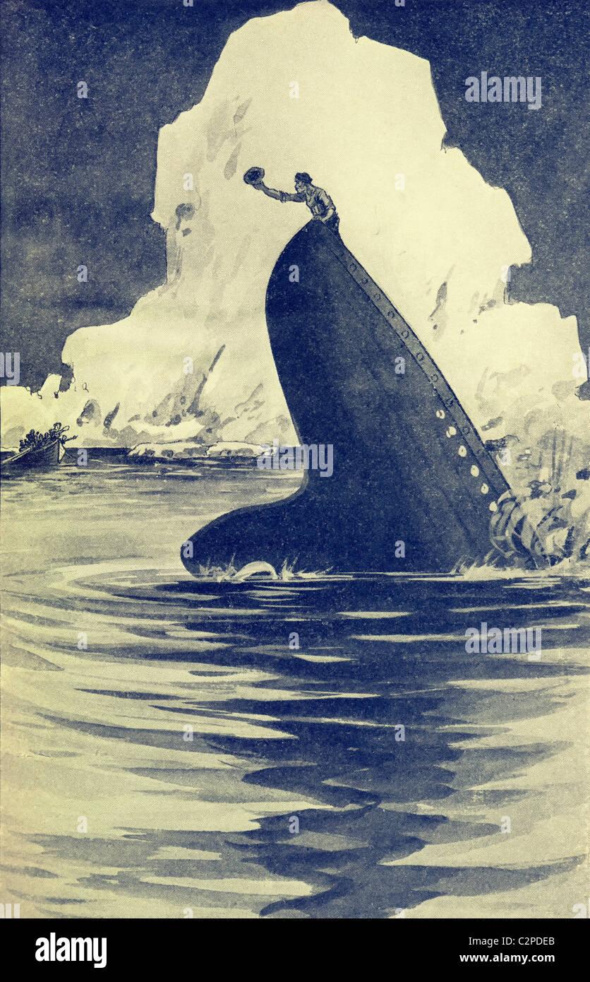 Titanic Hits Iceberg 18 X 24 Full Color Poster Afreeman