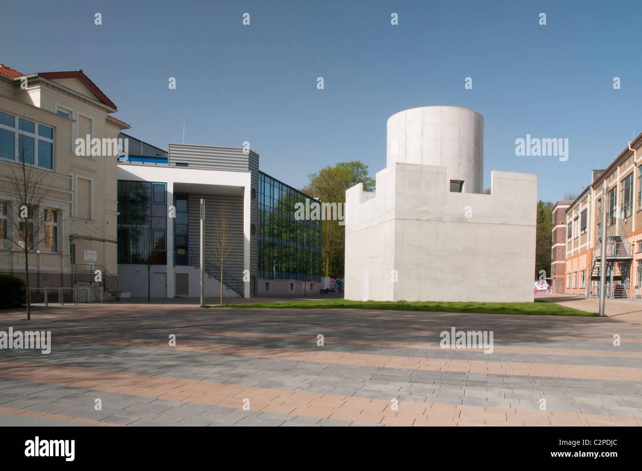Centre for International Light/Illumination Art, Facade of the Skyspace , James Turrell, Unna, North Rhine-Westphalia, - Stock Image