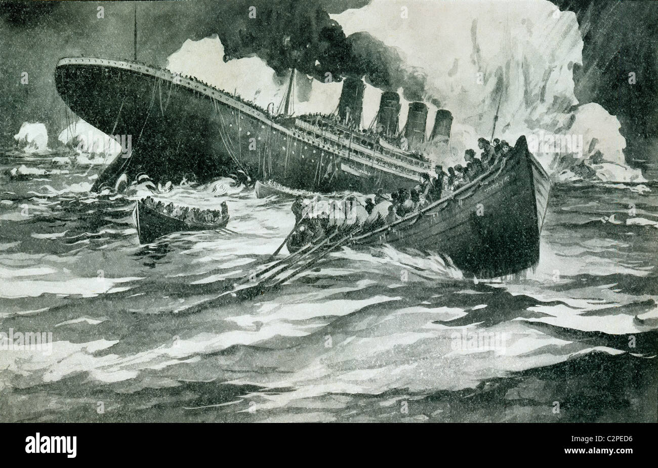 RMS Titanic of the White Star Line sinking around 2.20 AM, Monday morning, April 15, 1912. - Stock Image
