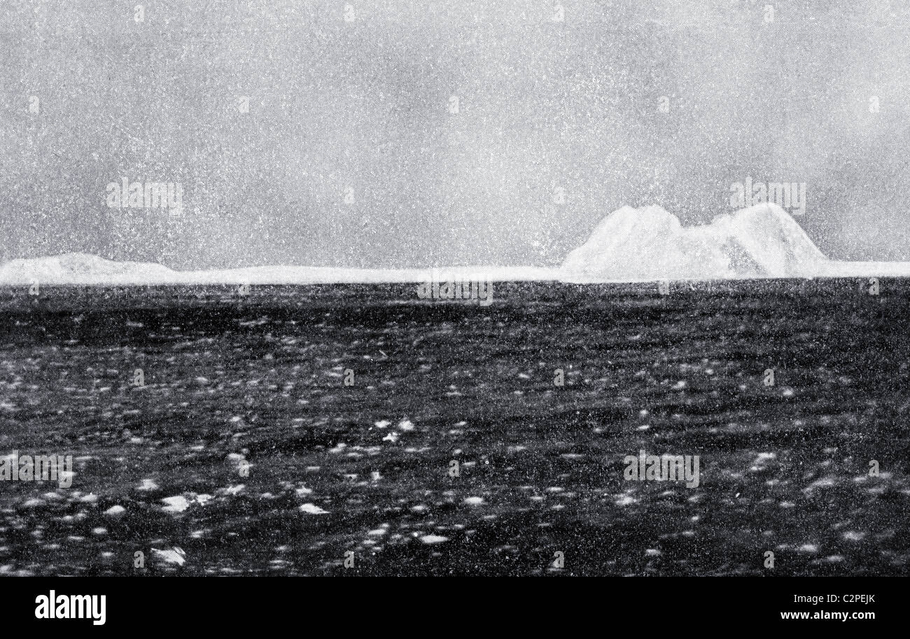 The iceberg with which RMS Titanic of the White Star Line collided and caused her to sink. - Stock Image