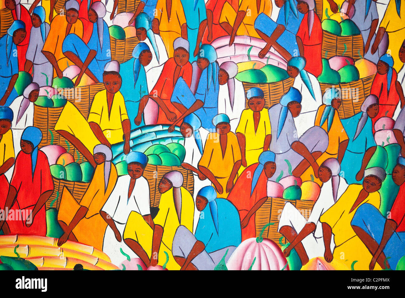 Haitian art paintings, Port-au-Prince, Haiti, by H Jackson - Stock Image