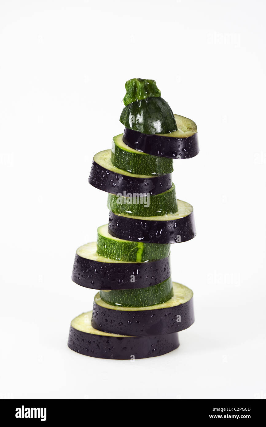 Stack of Zucchini and Eggplant slices - Stock Image