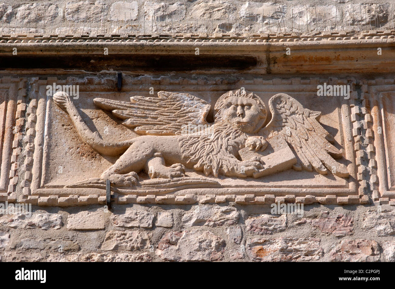 Stone relief adornment, Land Gate, Korcula, Dalmatian Coast - Stock Image