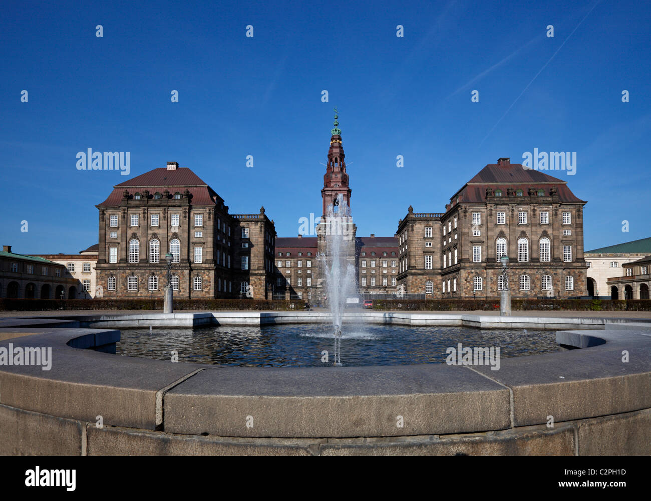 Christiansborg Castle - The Danish Parliament building in Copenhagen, Denmark - home of the Danish Parliament, the Stock Photo