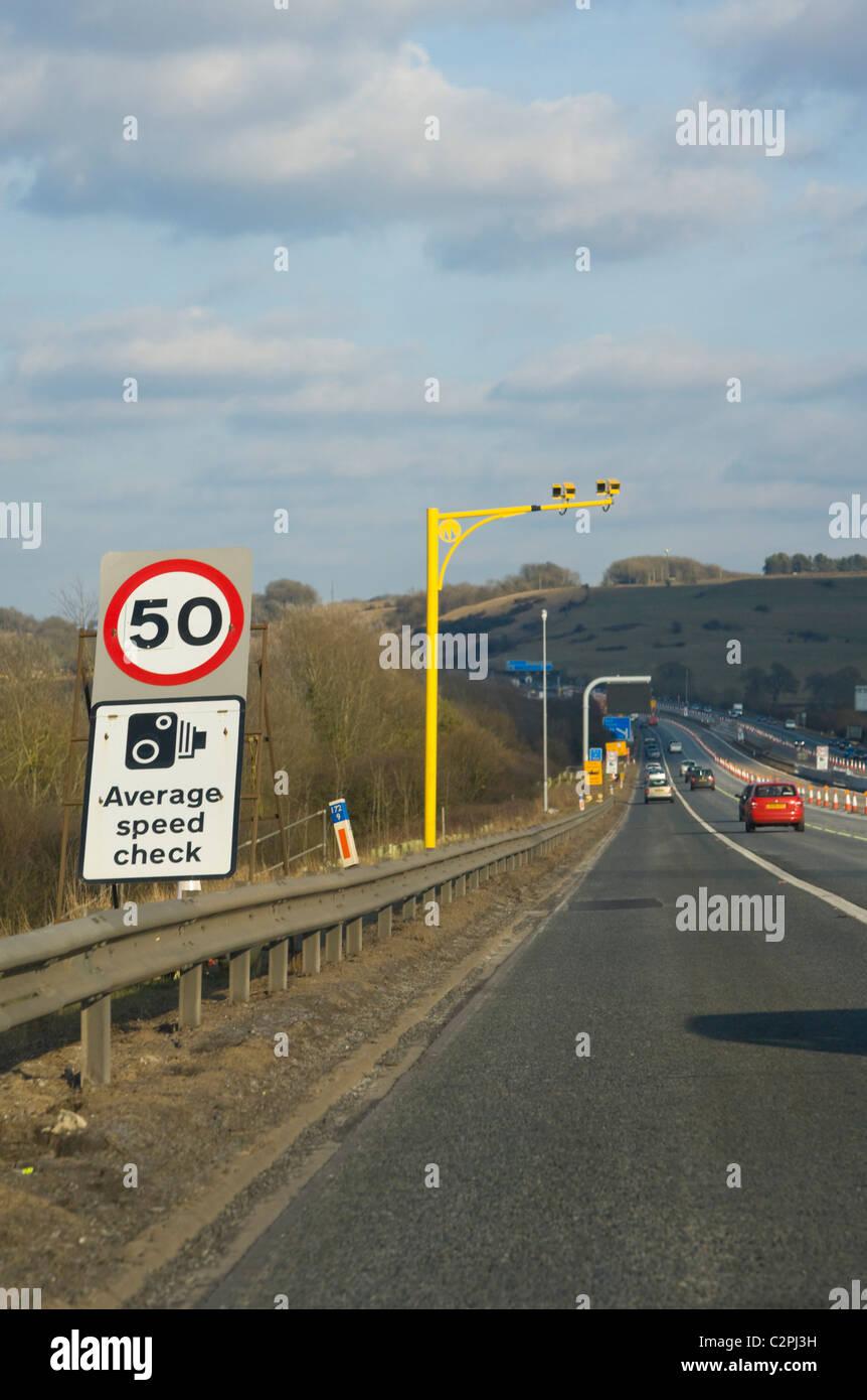 Average speed cameras, average speed check, on the M4 motorway, England, UK Stock Photo
