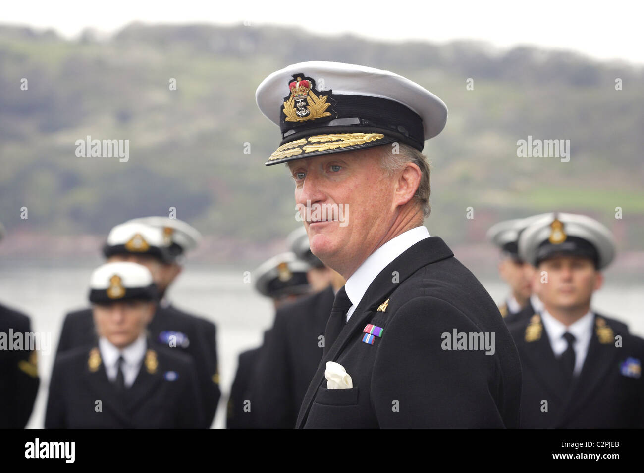 Rear Admiral Chris Snow addressing the ship's company aboard HMS Cumberland. - Stock Image