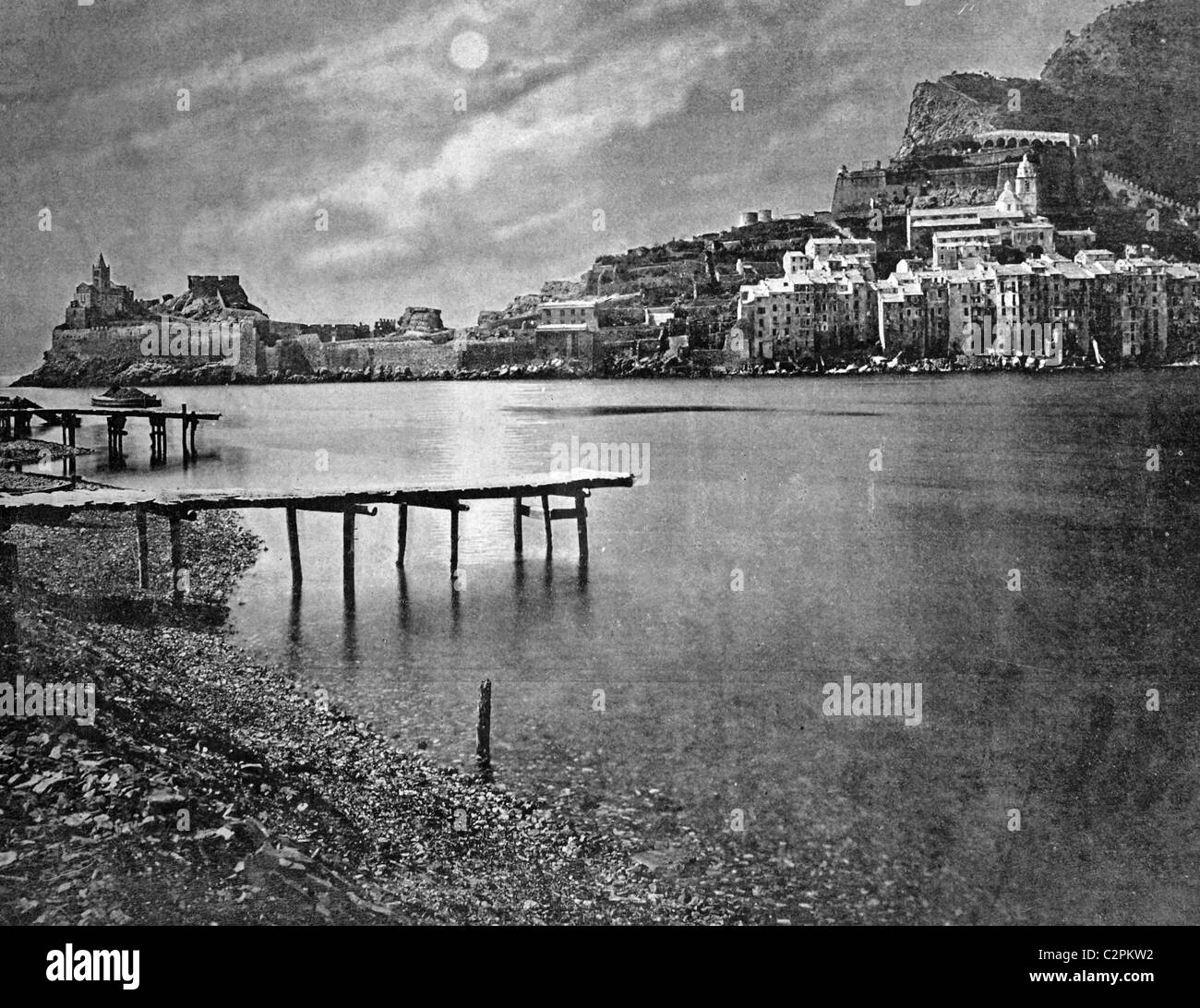 Early autotype of Portovenere, today Porto Venere, UNESCO World Heritage Site, Liguria, Italy, historical picture, - Stock Image