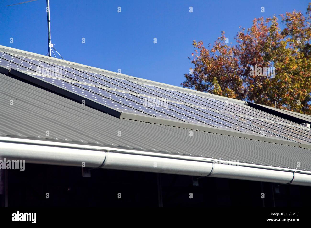 Caston House, Melbourne Australia. solar panels on the roof - Stock Image