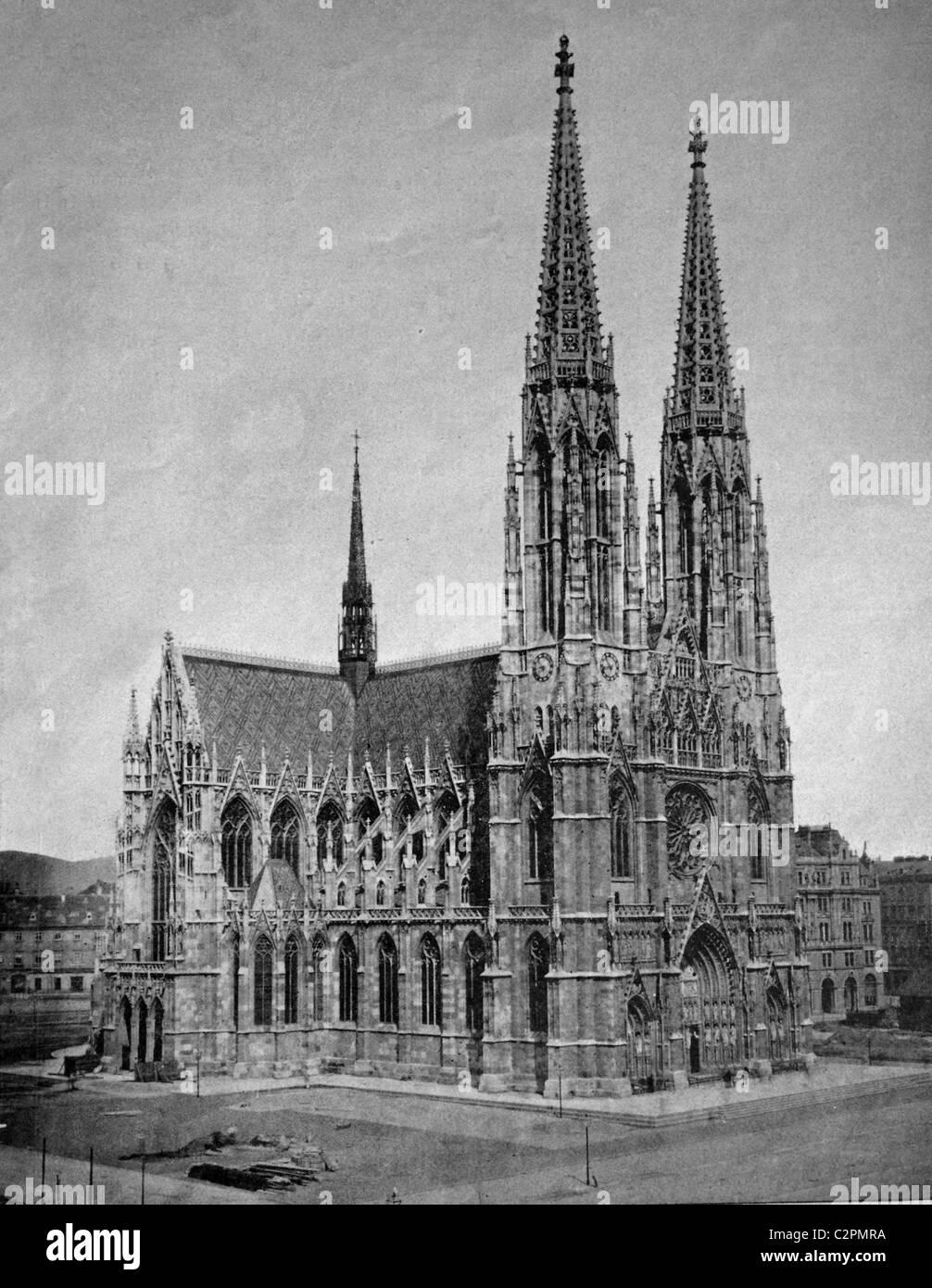 Early autotype the Votive Church, Vienna, Austria, historical photographs, 1884 Stock Photo