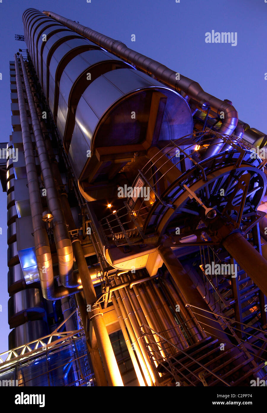 Lloyds of London at night Based in the City of London - Stock Image