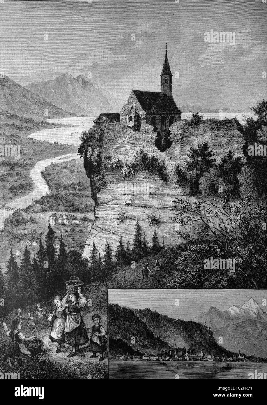 Pilgrimage chapel on Gebhardsberg mountain near Bregenz, historical illustration, about 1886, Vorarlberg, Austria, - Stock Image