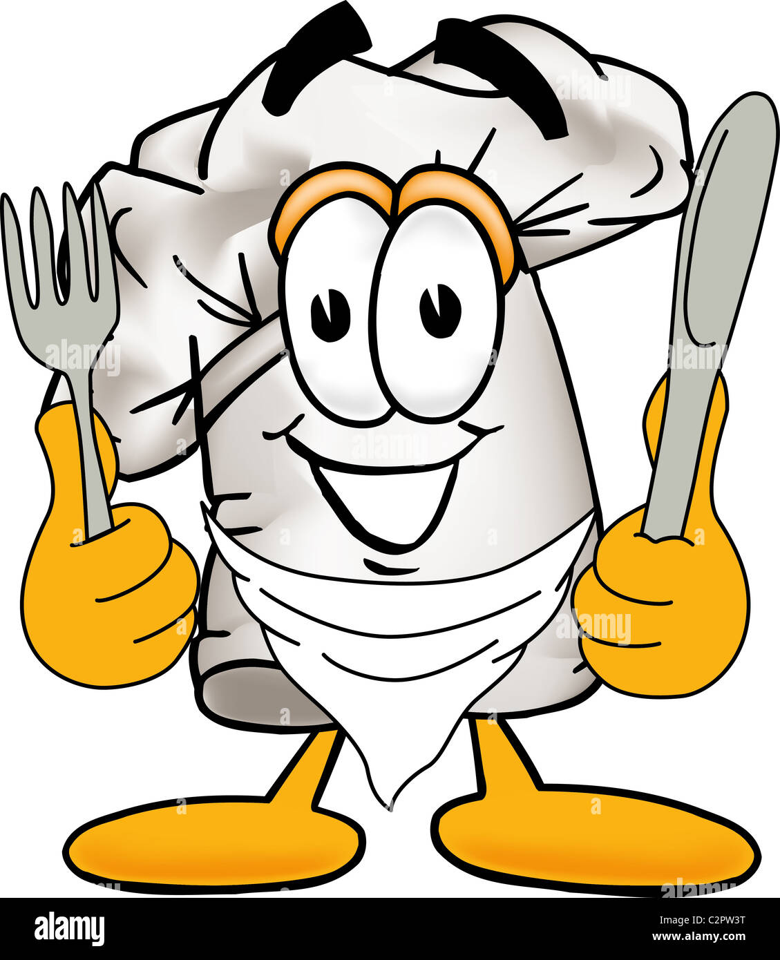 Cartoon Chef Hat Mascot Ready To Eat Delicious Food Stock