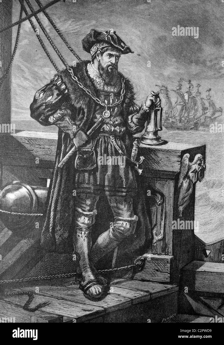Vasco da Gama, 1469-1524, Portuguese navigator, historical illustration, about 1886 - Stock Image
