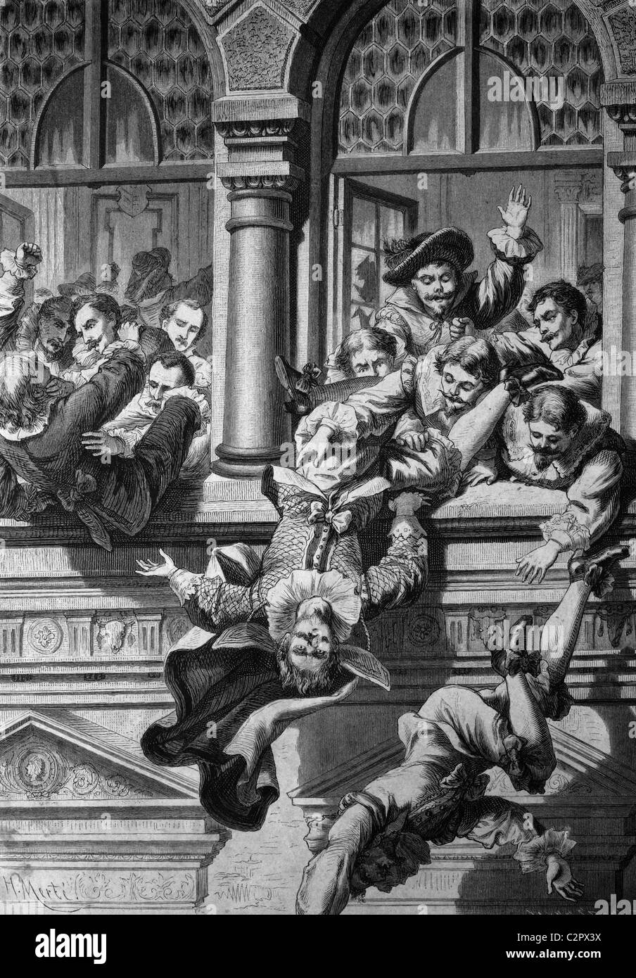 The Bohemian classes plunging the imperial governor down the window of the Prague City Hall, Defenestration of Prague, - Stock Image
