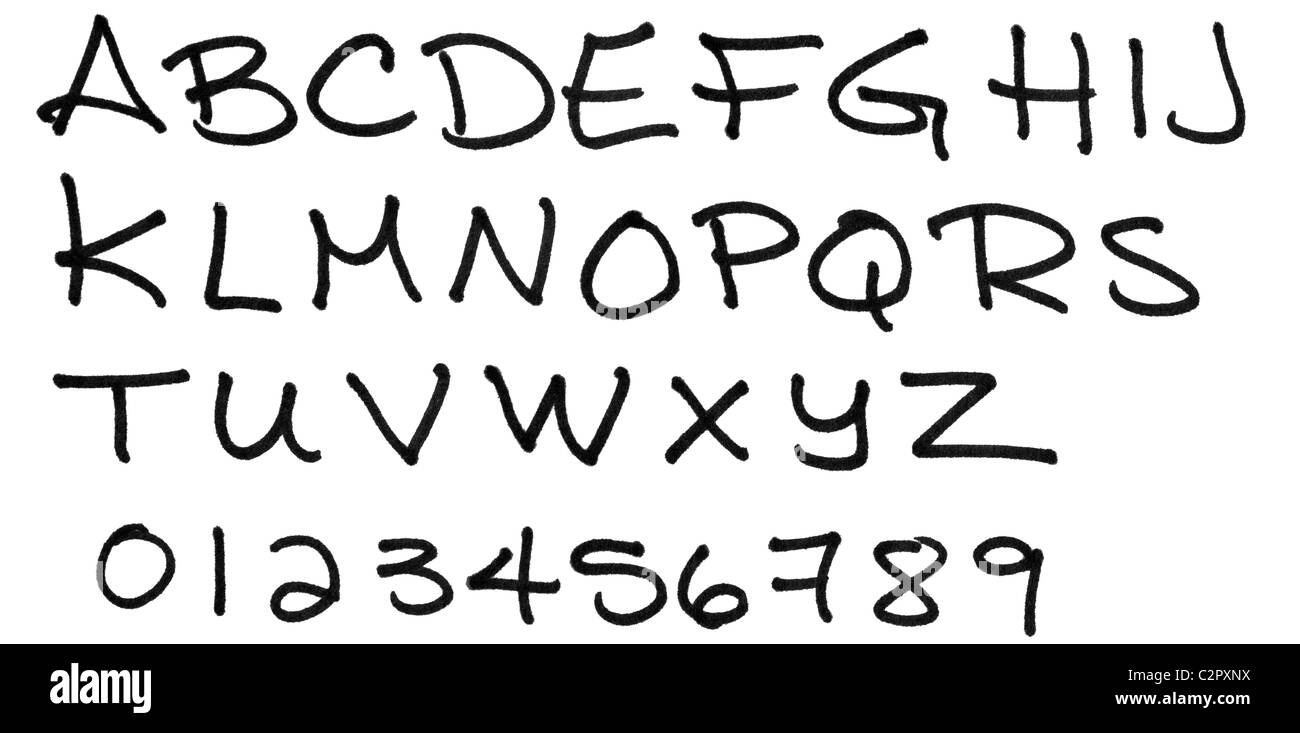 Complete alphabet handwritten in capital letters with numbers, in black ink marker on paper with great material - Stock Image
