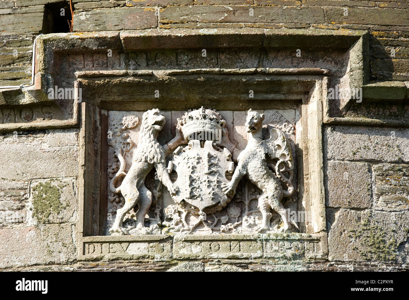 St Mawes Castle. Detail of the coat of arms which appears above the entrance to the castle. Stock Photo
