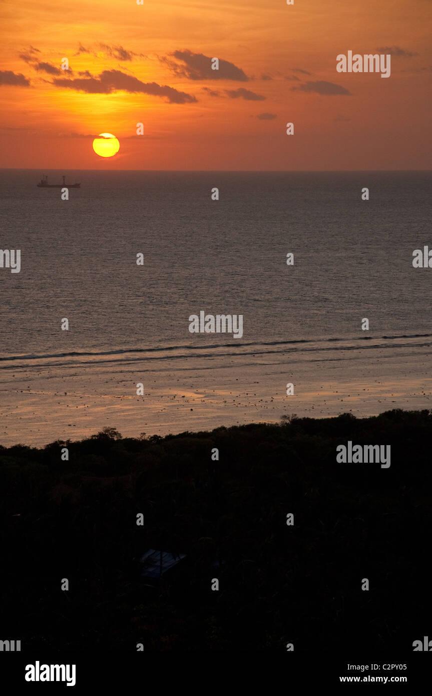 Sunset over Gili Islands, Lombok, Indonesia Stock Photo