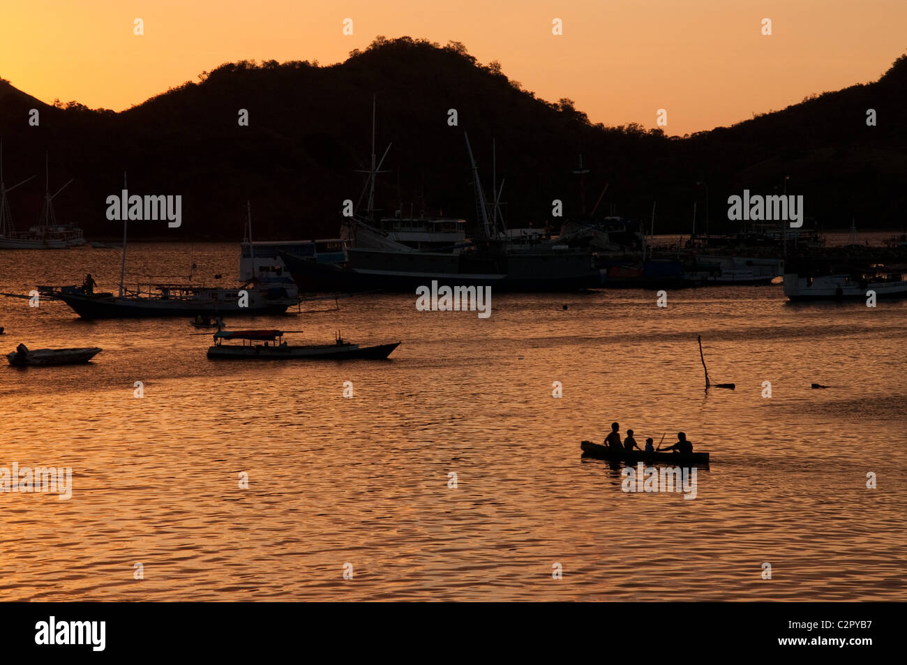 Sunset over Labuan Bajo, Flores, Indonesia - Stock Image