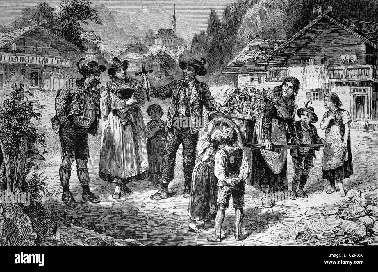 Merchant selling religious items in Tyrol, Austria, historical illustration, circa 1886 - Stock Image