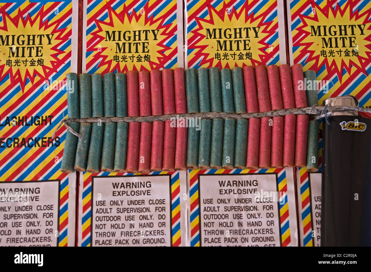 mighty mite, fire cracker, bic lighter - Stock Image