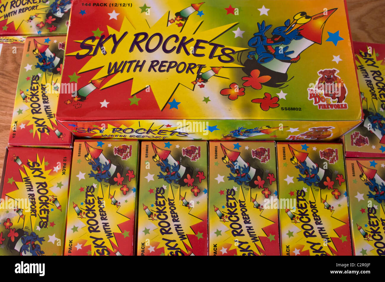big dog fireworks, sky rockets, fire crackers - Stock Image