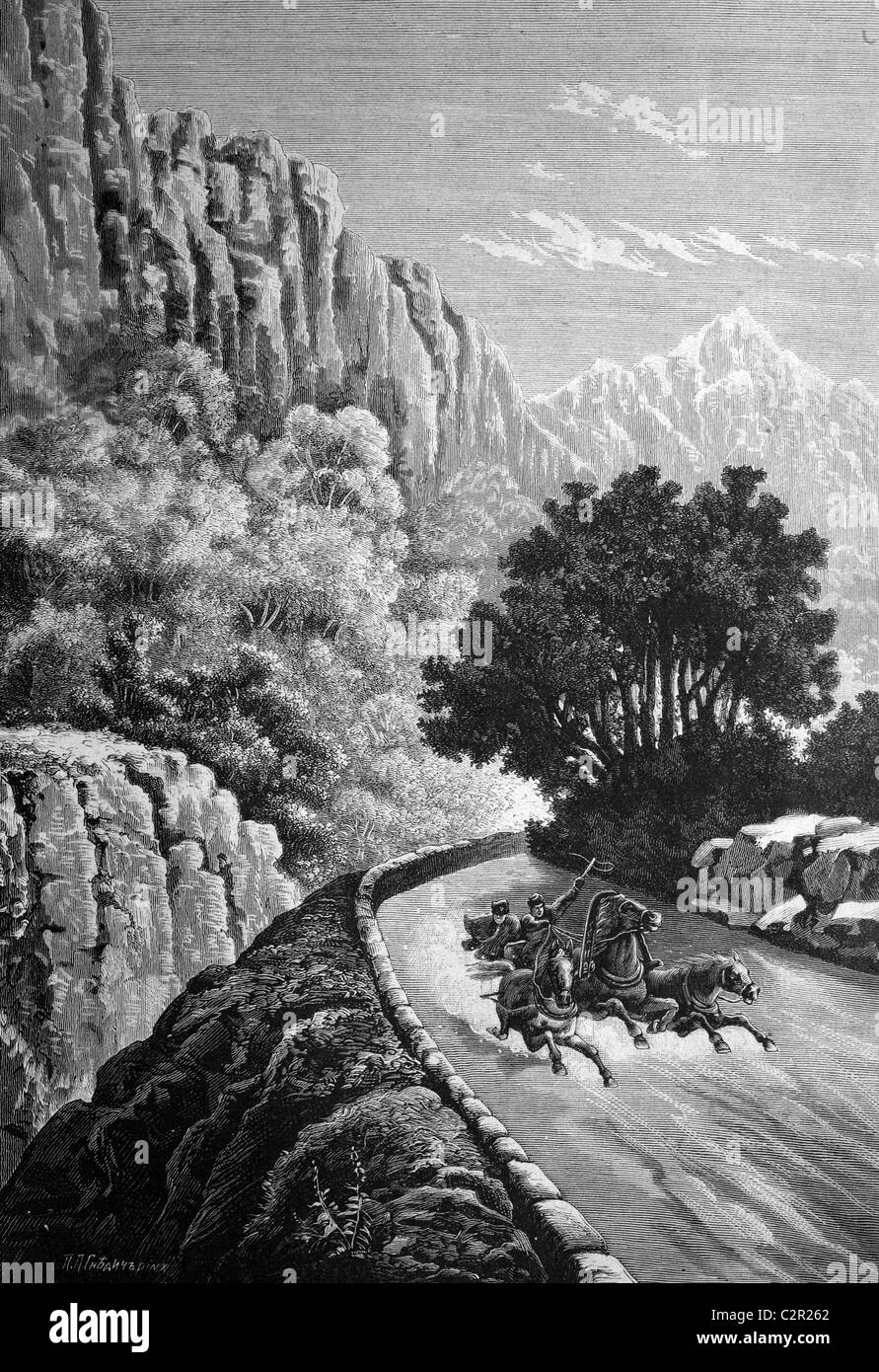 In the Gebirs Gorge of the Crimea, Russia, historical illustration, circa 1886 - Stock Image