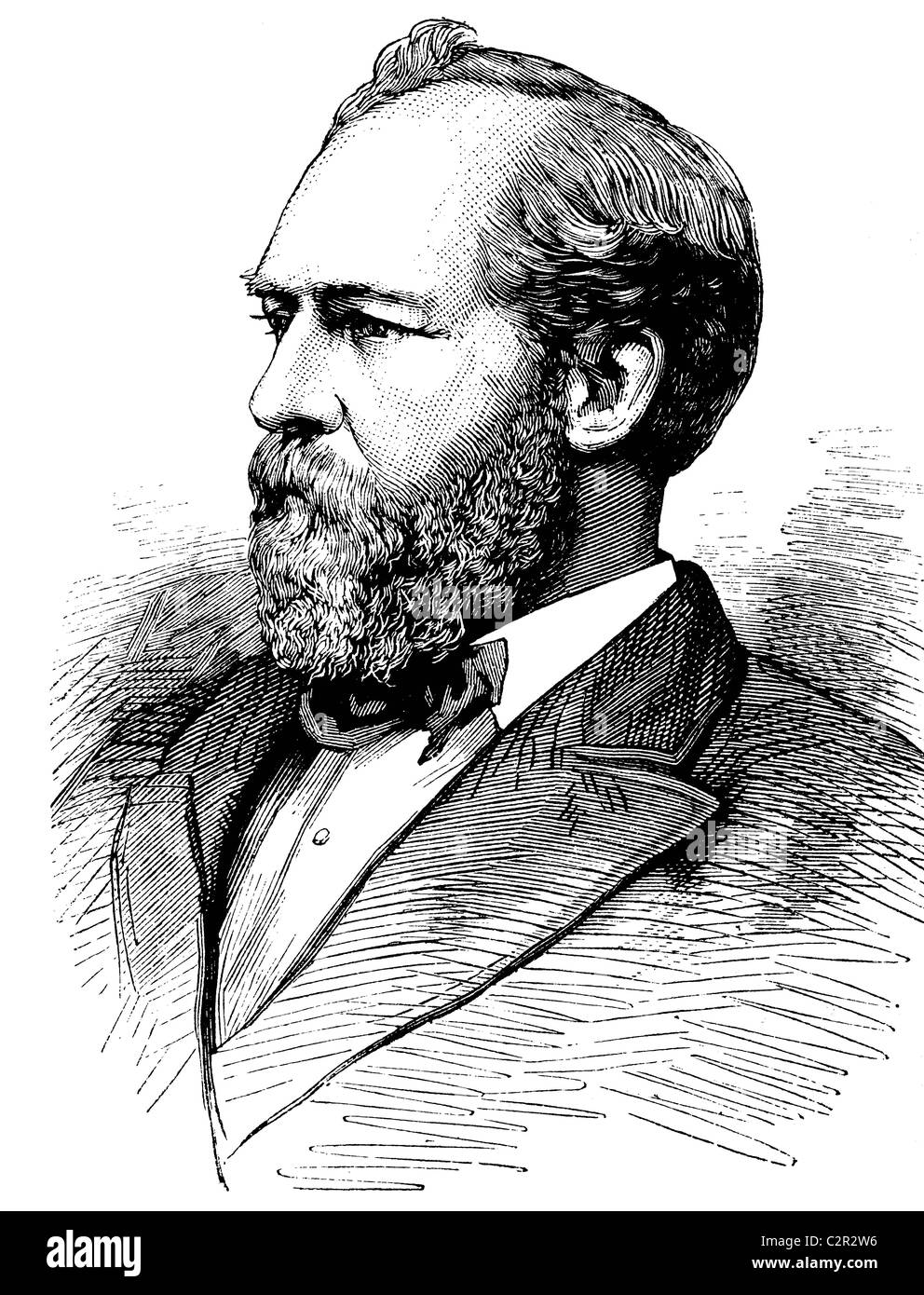James Garfield, 1831-1881, 20th President of the United States, historical illustration, circa 1886 - Stock Image