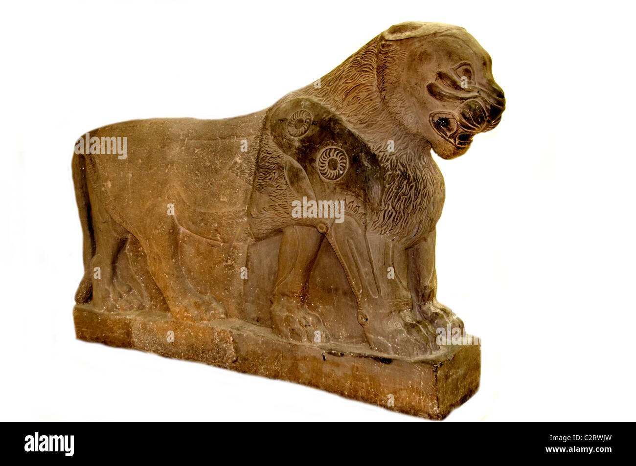 National Museum Aleppo copy Armenean  Lion of the Aramaic palace Tell Halaf 9th cent BC Syria Armenia - Stock Image