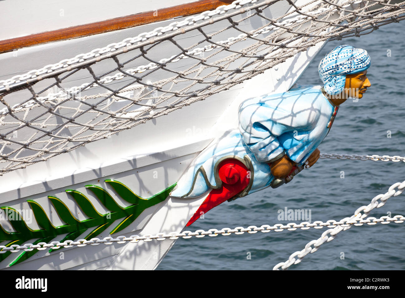 The figurehead on a tall ship berthed in Hartlepool for the tall ships race Stock Photo