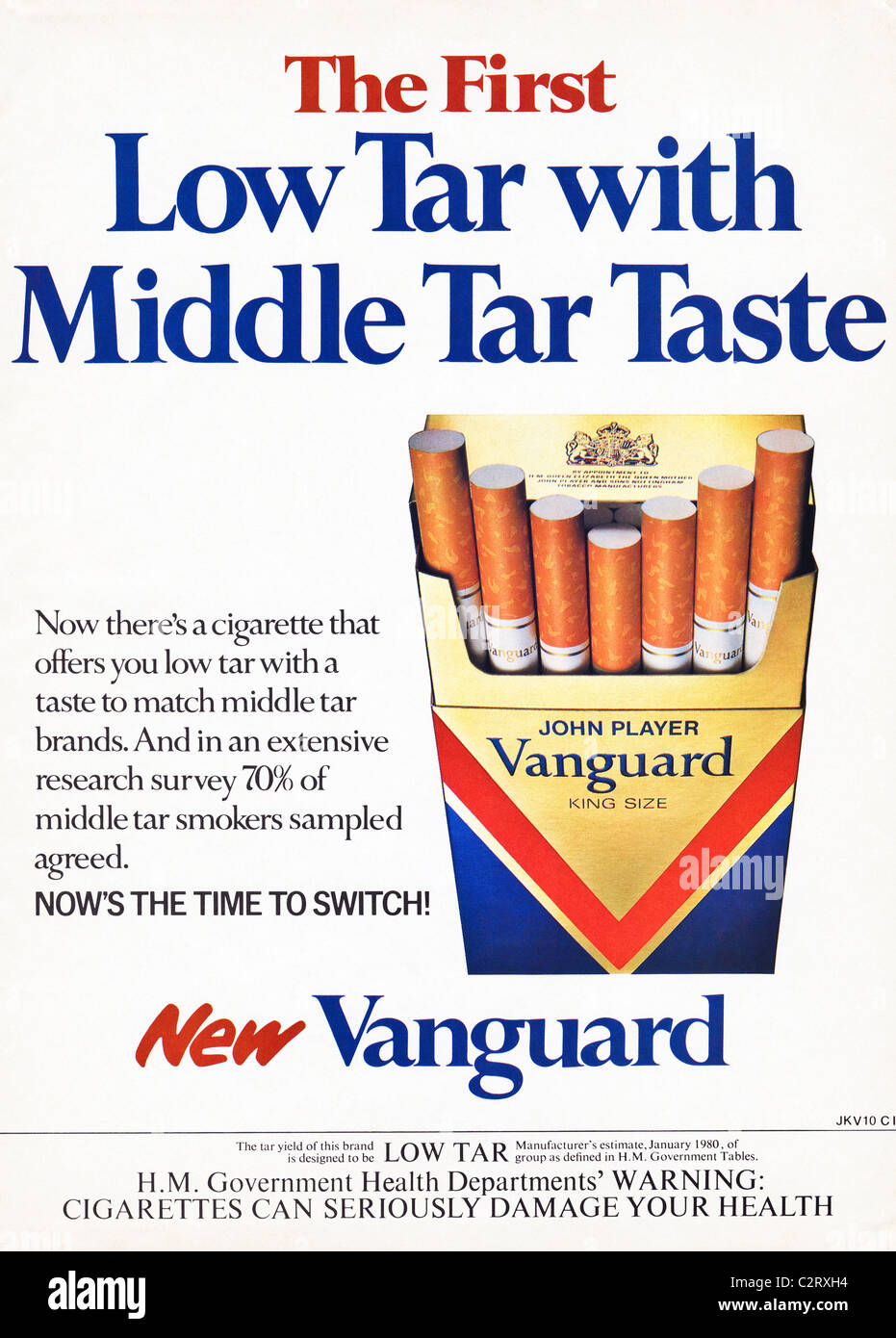 Full page colour advertisement for JOHN PLAYER VANGUARD KING SIZE low tar cigarettes in men's magazine circa - Stock Image